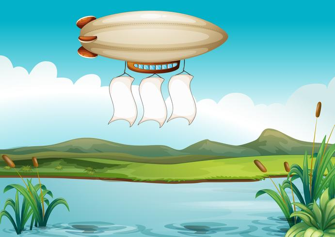 A blimp carrying three empty banners vector