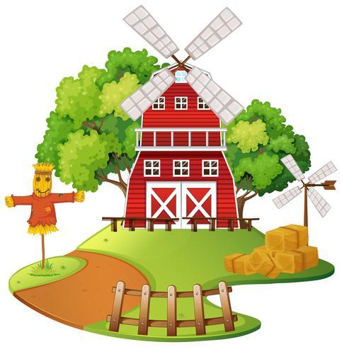 Scène de ferme avec moulin à vent et épouvantail
