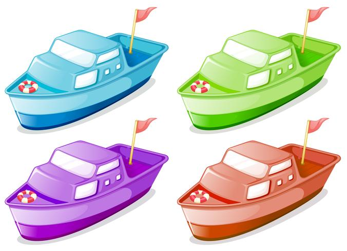 Four boats in different colors