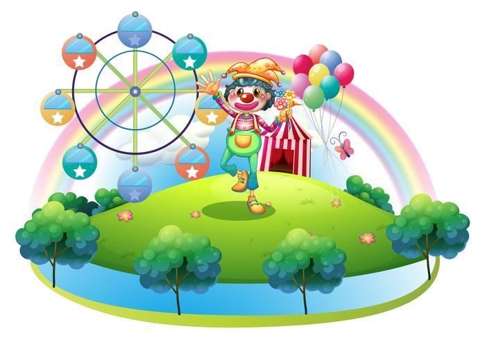Un payaso con una flor en una isla con un carnaval.