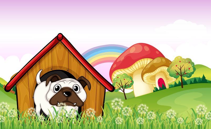 Um bulldog na casinha de cachorro perto dos cogumelos gigantes