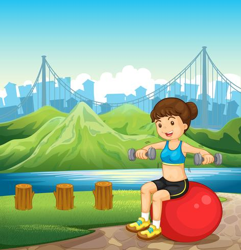 A girl making her body fit near the river vector