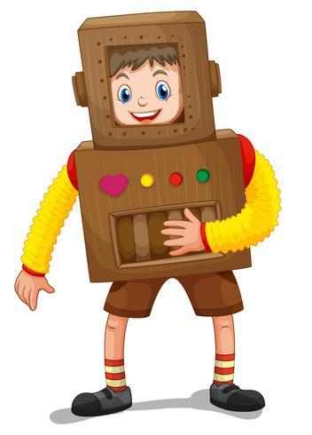 Liten pojke i robotdräkt