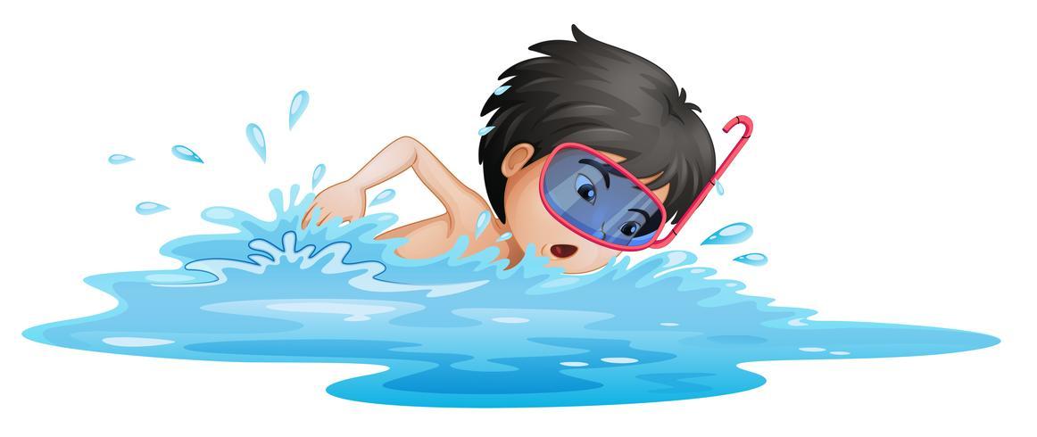 En liten pojke simning