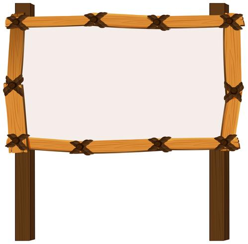 Wooden frame on white background vector