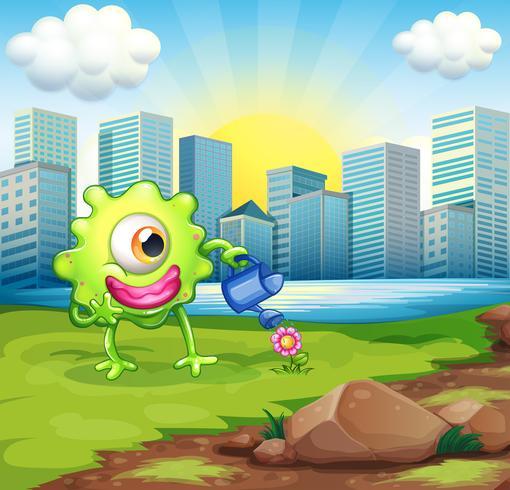 Un monstruo que riega la planta en la orilla del río a través de los edificios.