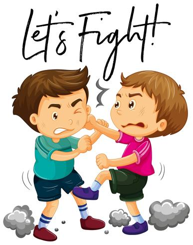 Phrase let's fight with two angry boys fighting