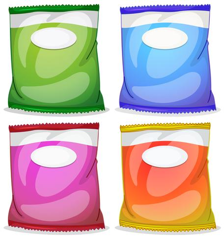 Four packs with empty labels vector