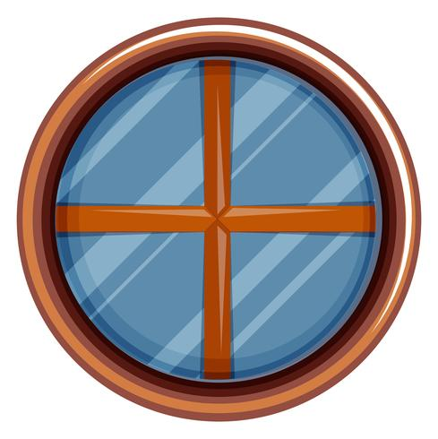 Round window with wooden frame vector