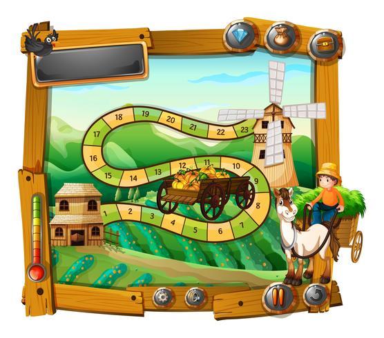 Modèle de jeu avec agriculteur sur wagon