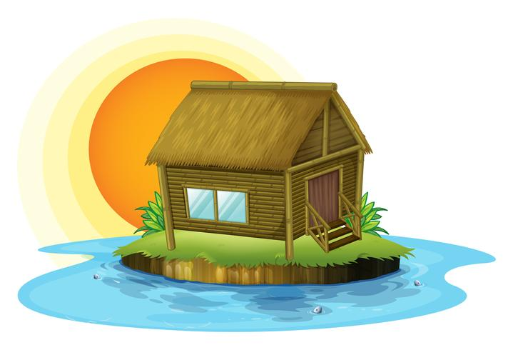 A bamboo house in the island vector