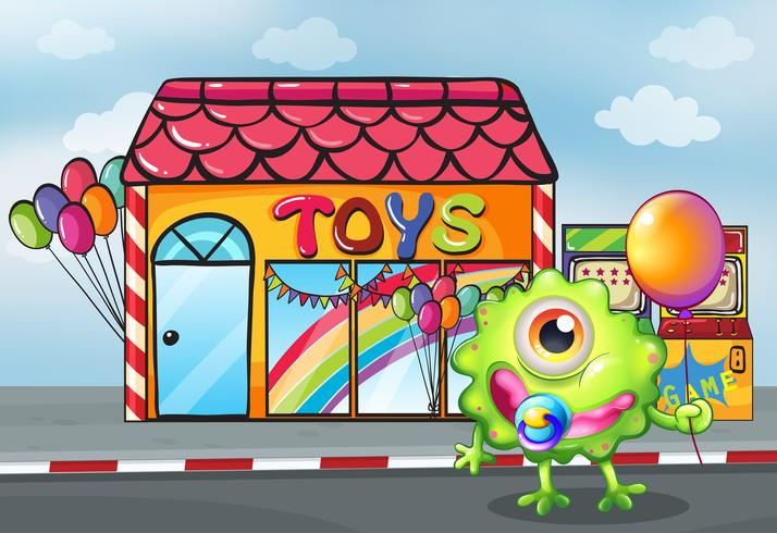 Un monstre devant le magasin de jouets