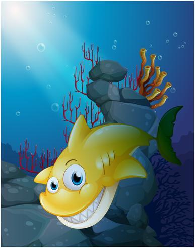Um grande tubarão sorridente sob o mar vetor