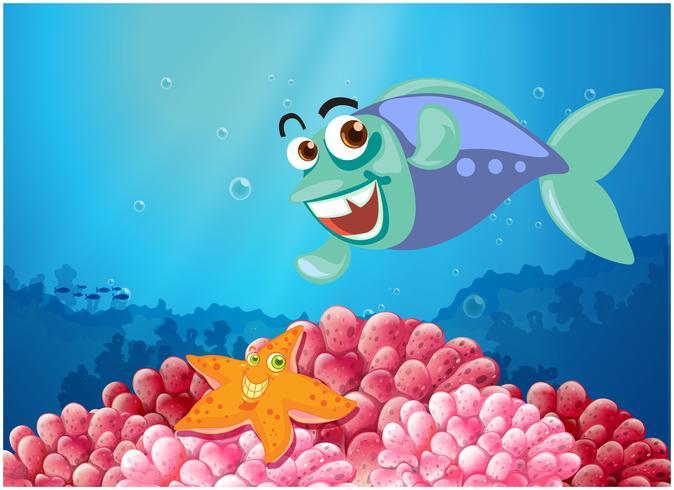 Een zeester en een vis onder de zee