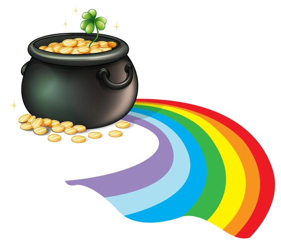 A pot of gold coins with a green plant vector