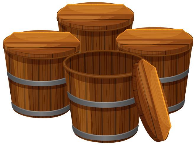 Quatro baldes de madeira com tampas