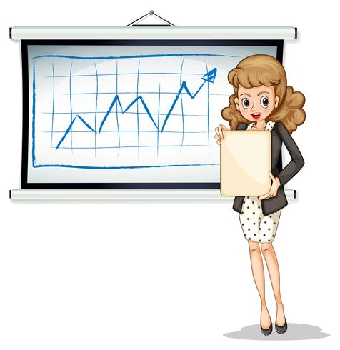 A woman holding an empty template in front of the whiteboard vector