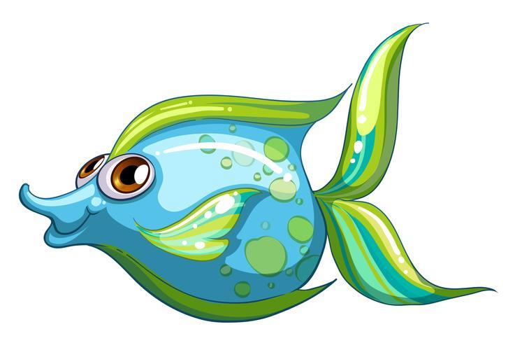 Um grande peixe azul com uma cauda listrada