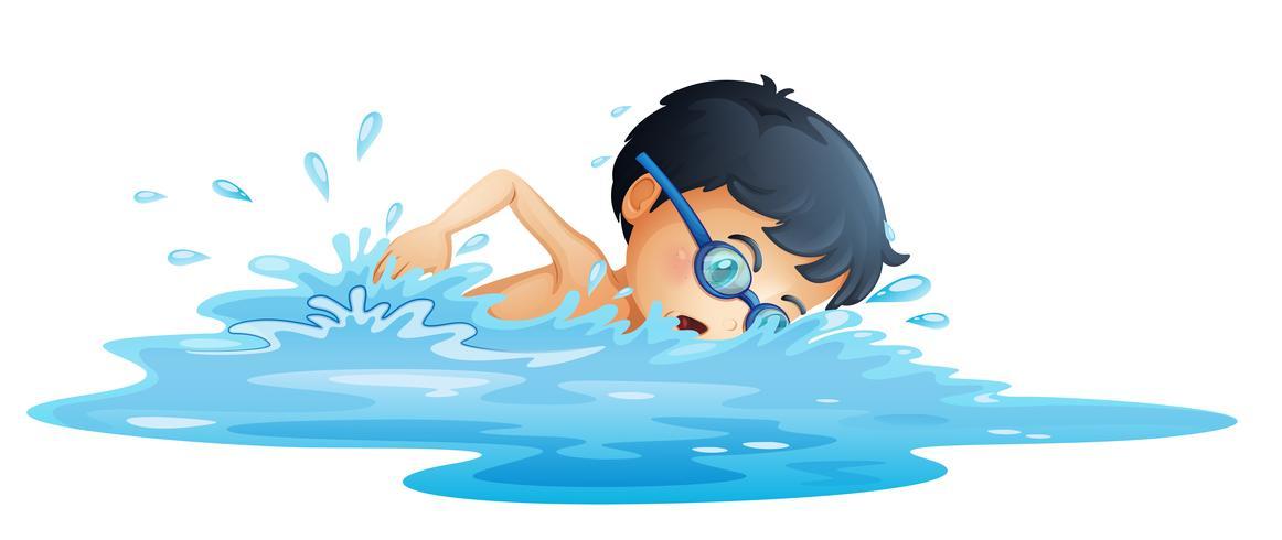 Um, criança, natação