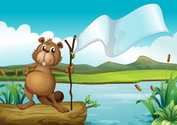 Um castor segurando uma madeira com um banner vazio