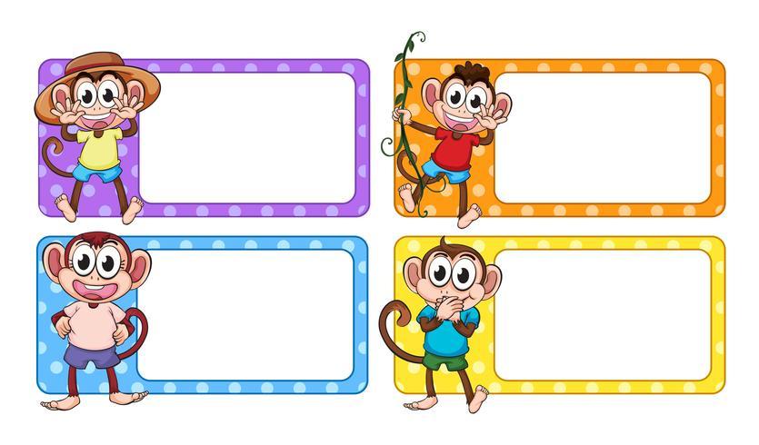 Des étiquettes avec des singes heureux