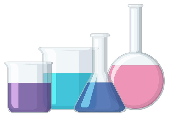 Different sizes of beakers with liquid