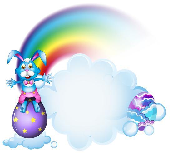 Um coelho acima do ovo perto do arco-íris