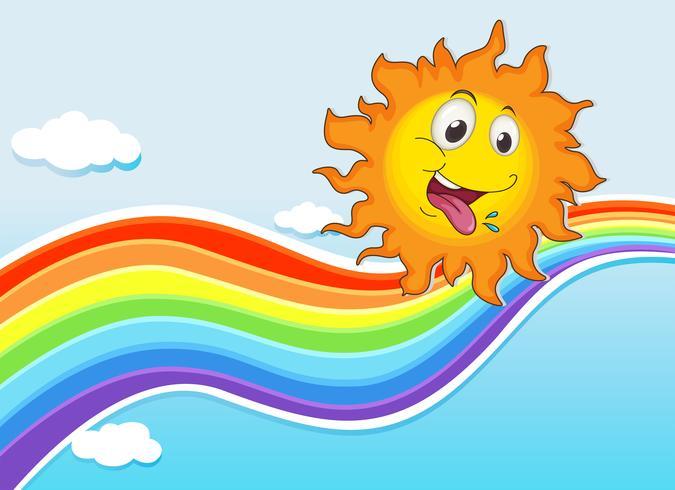 En himmel med en regnbåge och en glad sol
