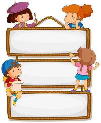Children on empty signboard