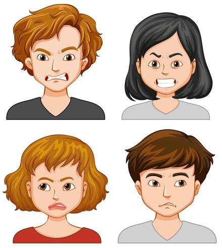 Four people with different facial expressions vector