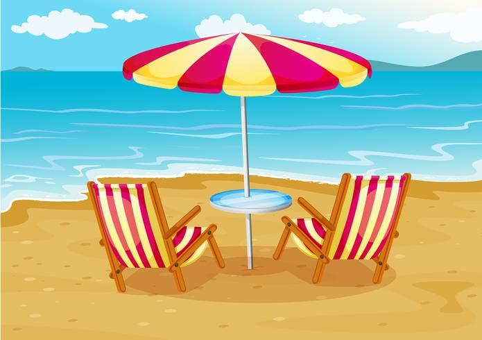A beach umbrella with chairs at the seashore vector