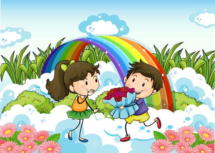 Una pareja que data cerca del arcoiris.