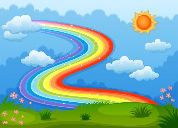 Un arco iris con estrellas brillantes sobre las colinas.