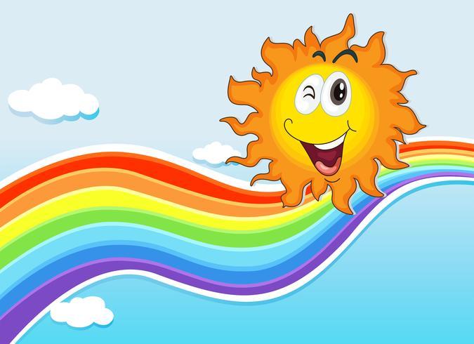 Um sol sorridente perto do arco-íris