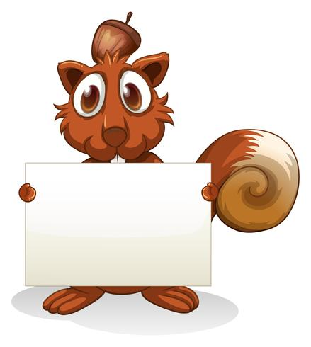 A squirrel holding an empty signboard vector