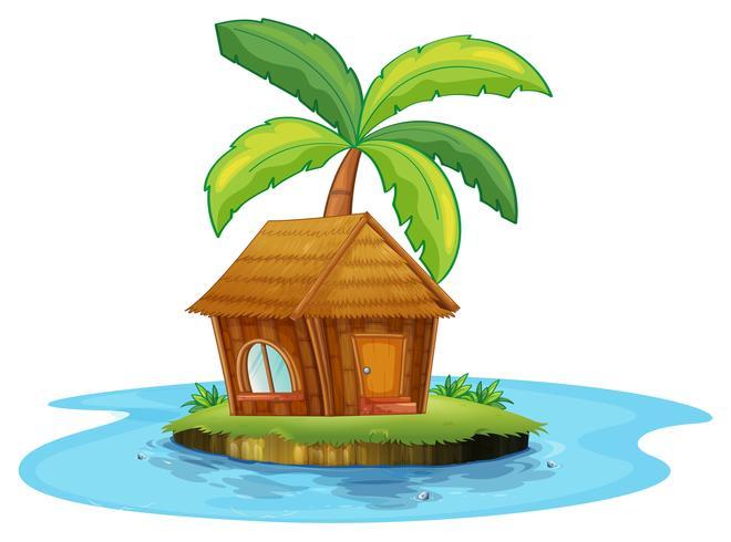 Een eiland met een nipahut en een palmboom