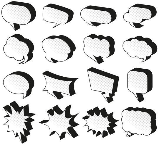 Modèles de bulles de discours sur fond blanc