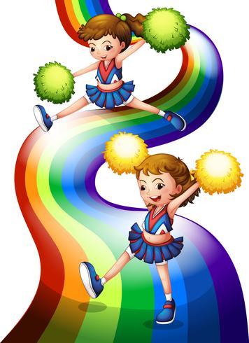 Un arcoiris y los dos porristas.