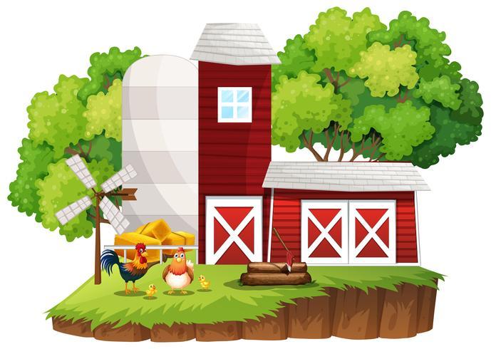 Scène de ferme avec des poules près des granges