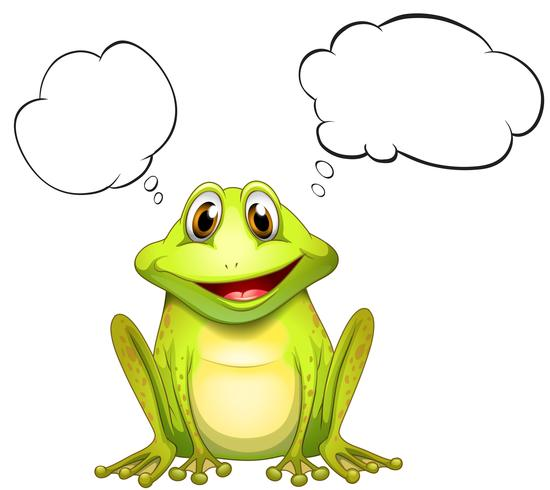 Une grenouille avec une pensée vide
