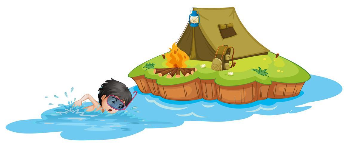 Un niño nadando cerca de un camping.