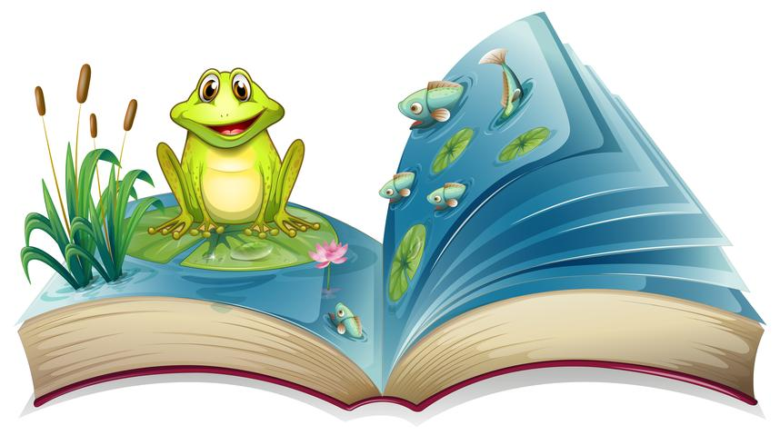 Un livre avec une histoire de la grenouille dans l'étang
