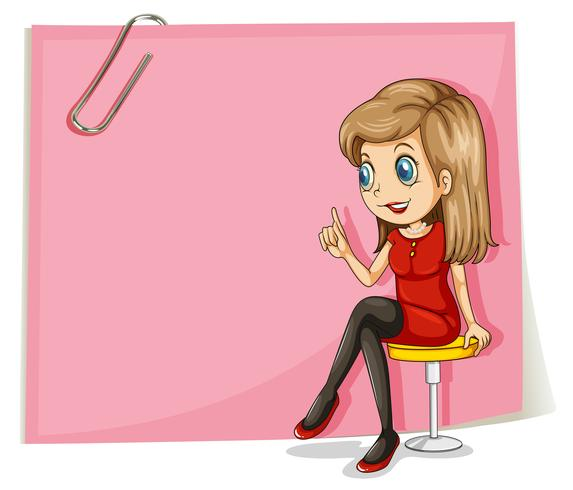 Een mooie dame voor de lege roze bewegwijzering