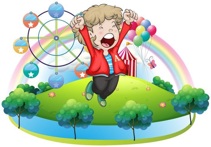 Un niño feliz en el carnaval.