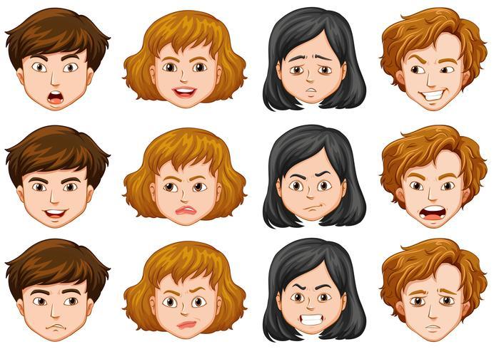 Personnes avec différentes expressions faciales vecteur