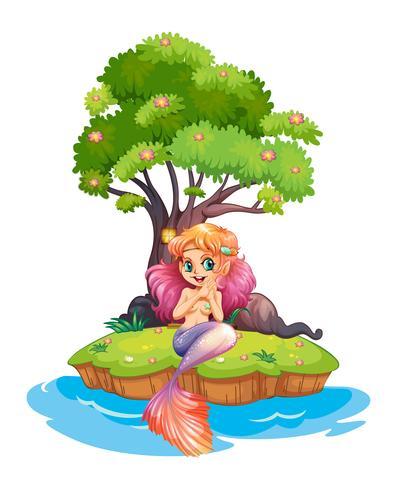 Eine Insel mit einer lächelnden Meerjungfrau