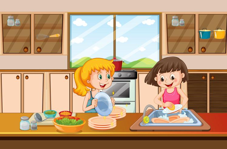Ragazze che puliscono il piatto in cucina