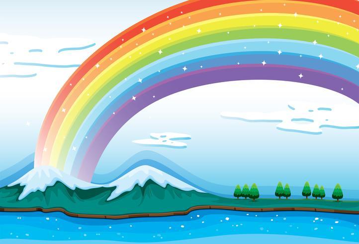 Un hermoso arcoiris en el cielo.