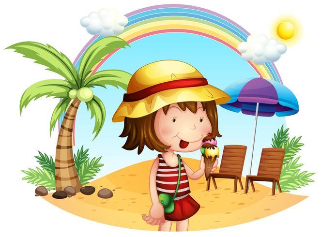Una playa con una niña