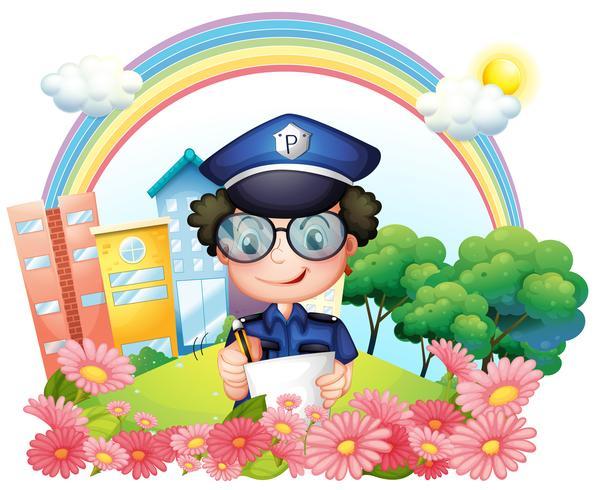 Ein Polizist schreibt in der Nähe der Blumen